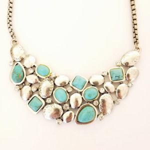 Silver and Turquoise Short Necklace
